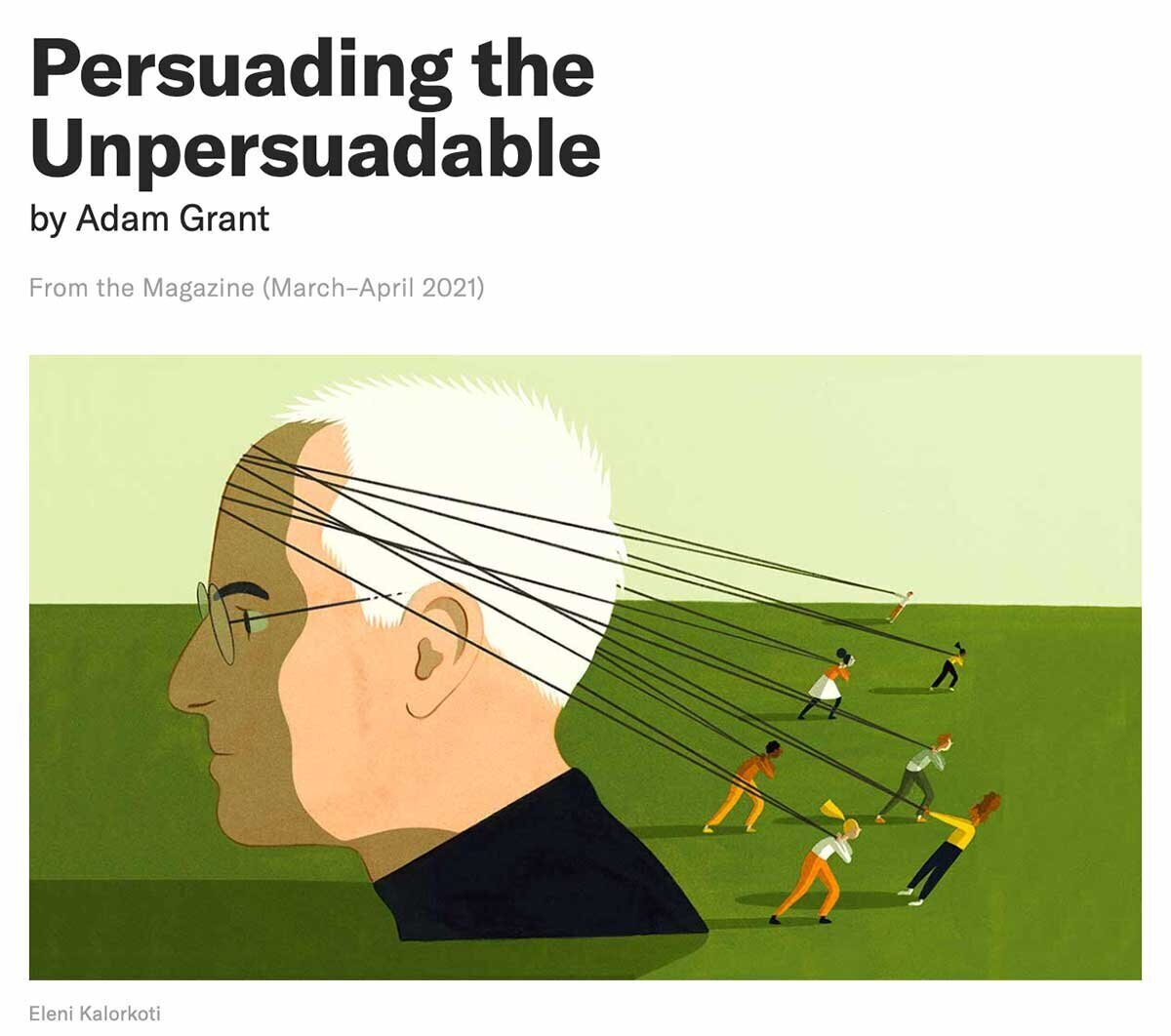 Screenshot of the HBR article titled Persuading the Unpersuadable
