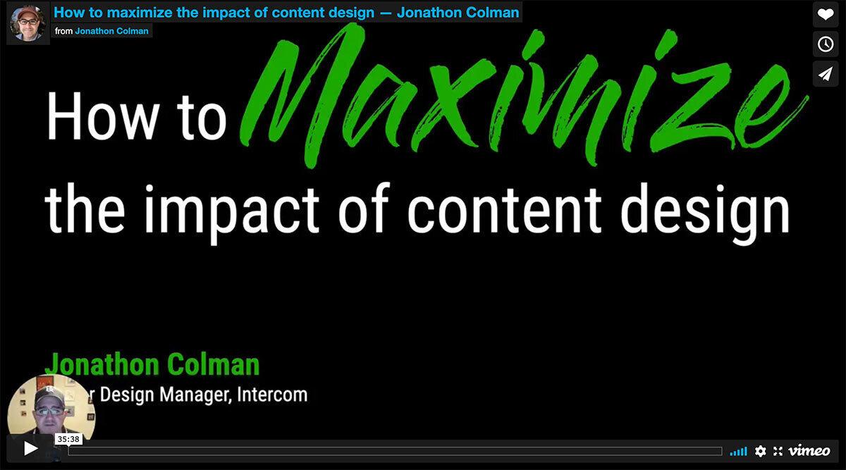 Screengrab from a talk by Jonathon Colman at DesignOps Summit 2020