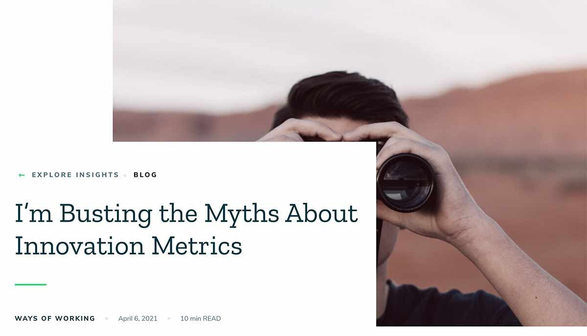 Screenshot of article about busting the myths about innovation metrics