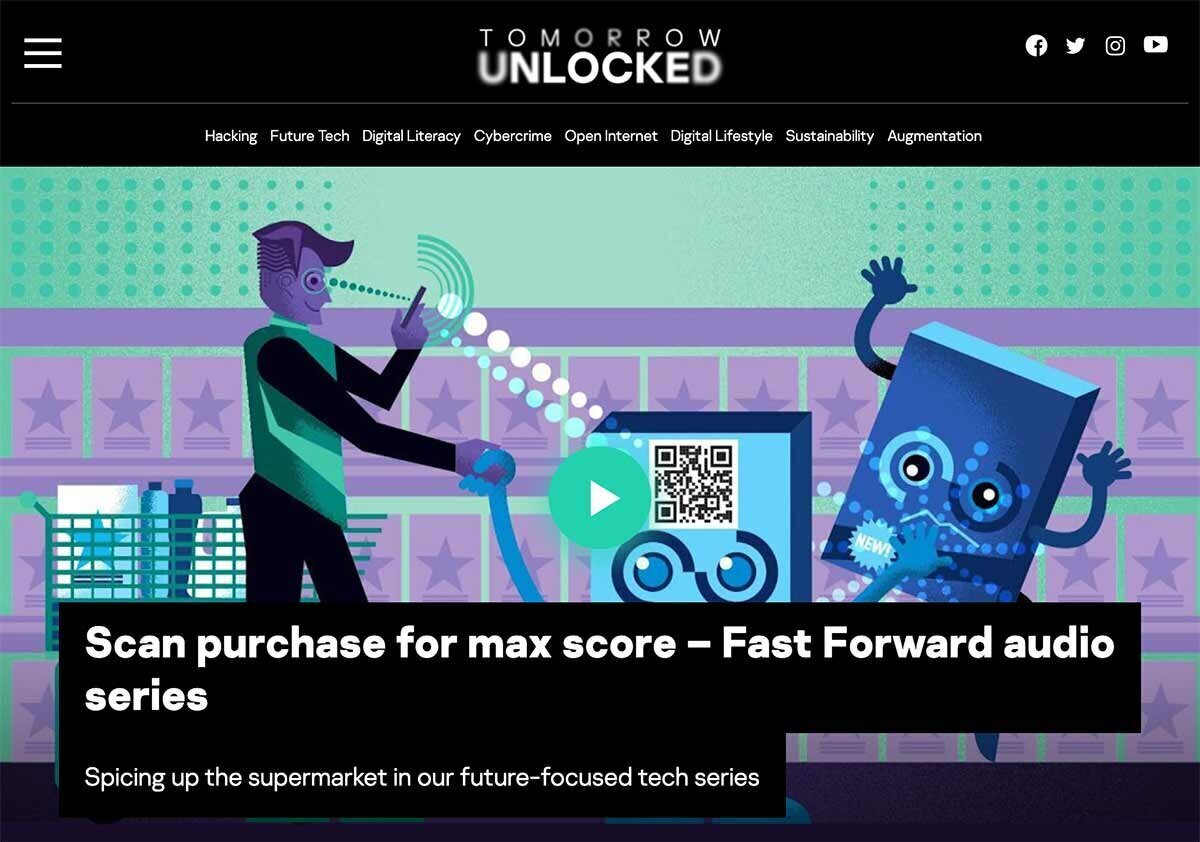 Screenshot of Tomorrow Unlocked website page for podcast episode about the future of supermarkets