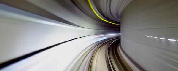 Train hurtling down a tunnel